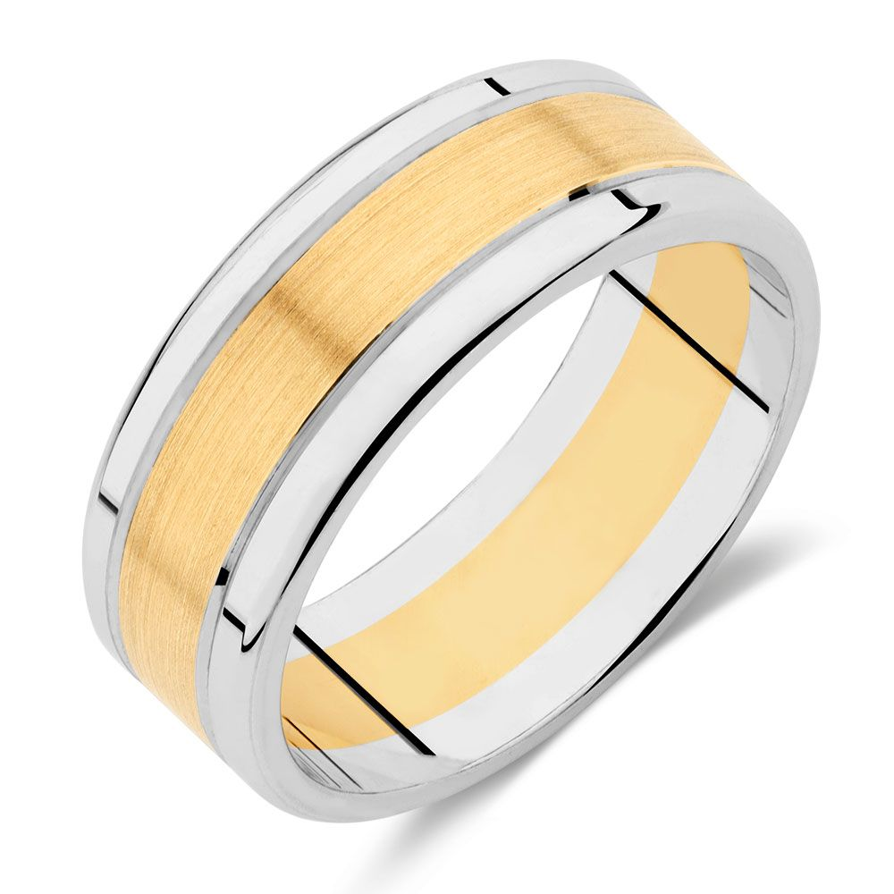 Men\'s Wedding Band in 10ct Yellow & White Gold | One Day Soonish ...