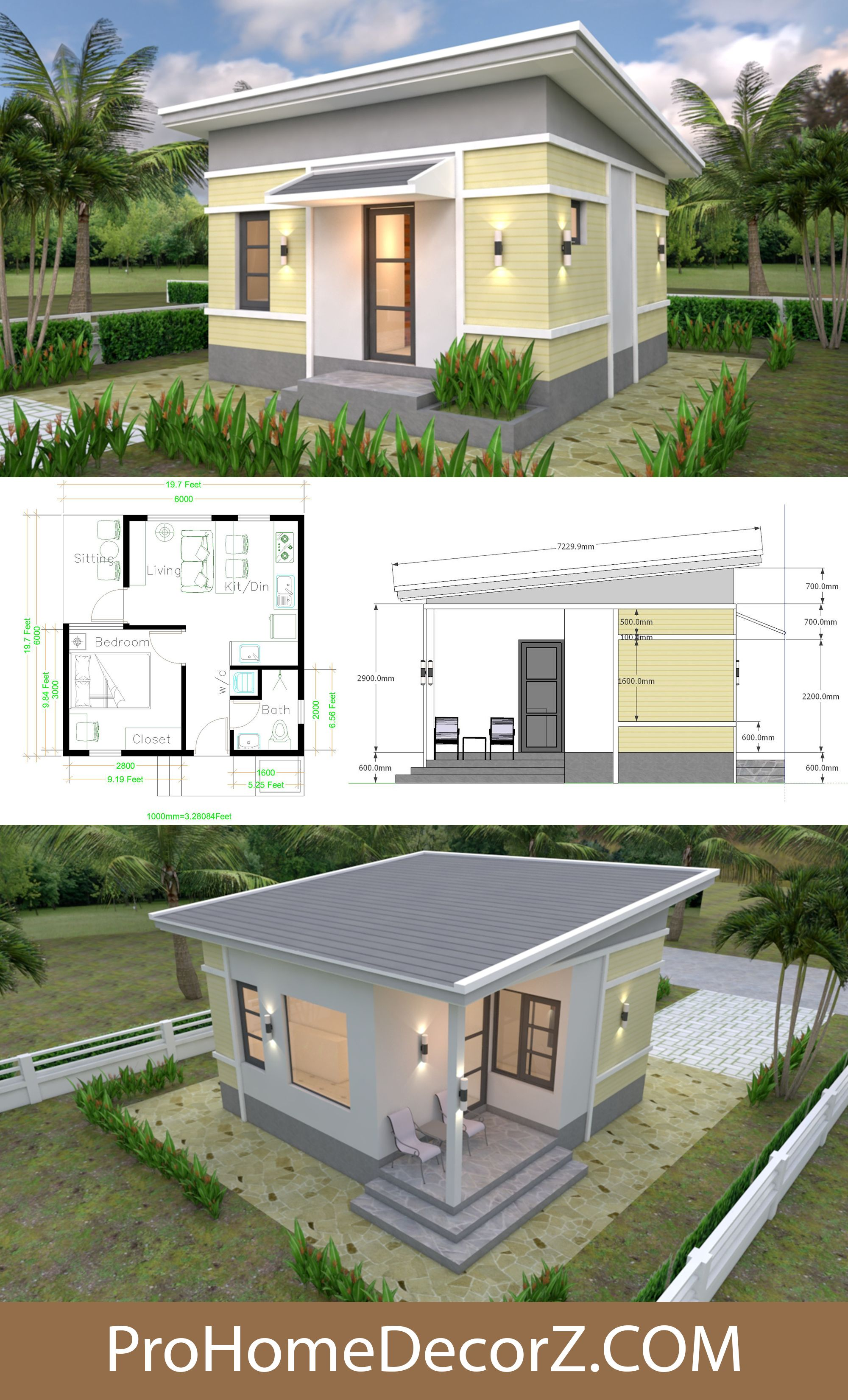 Small Bungalow 6x6 With Shed Roof Small Bungalow Small House Design House Roof