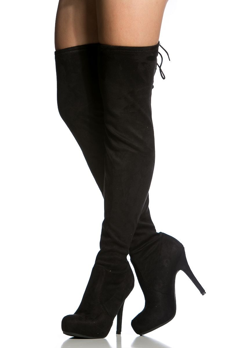 9b72591338c Black Faux Suede Thigh High Boots   Cicihot Boots Catalog women s winter  boots