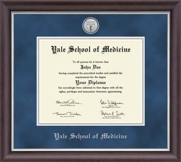 Yale School of Medicine Diploma Frame - Features a two-toned ...