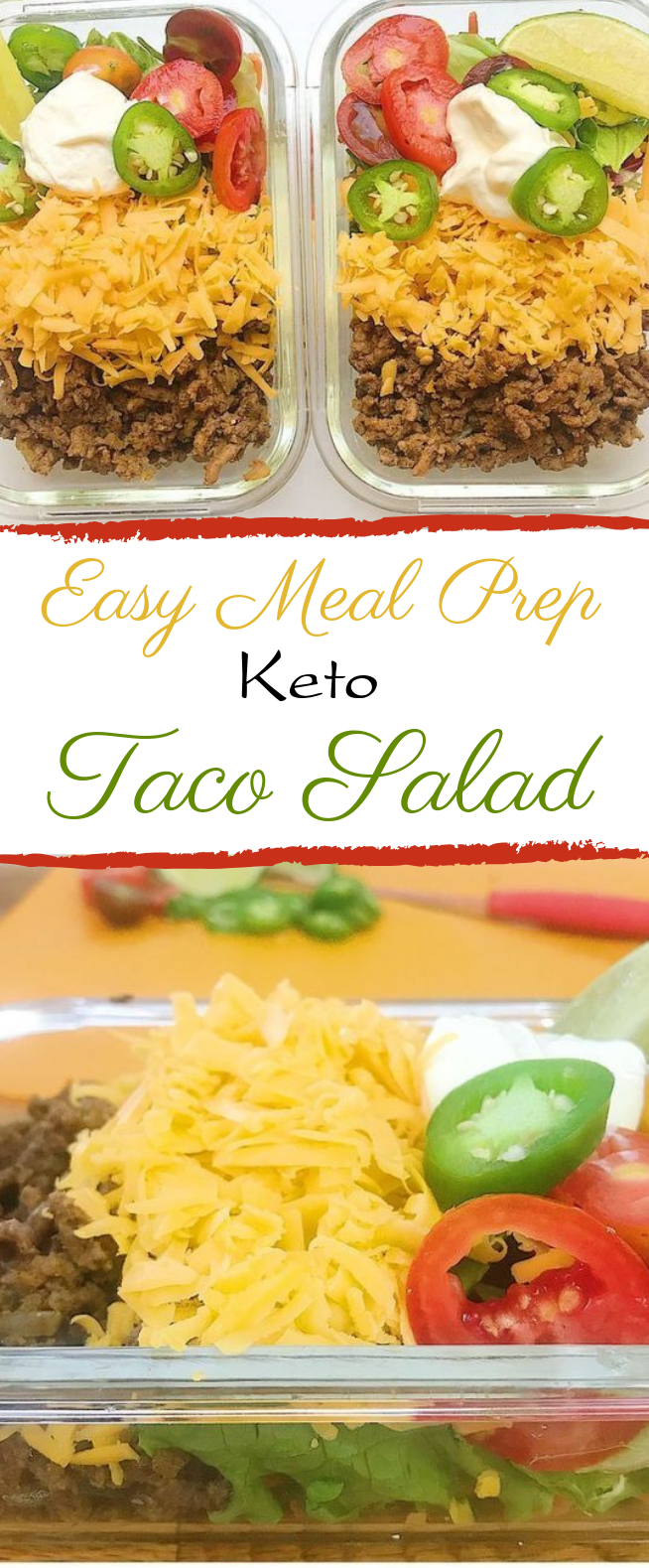 Easy Meal Prep Keto Taco Salad #lunch #keto #tacosalad