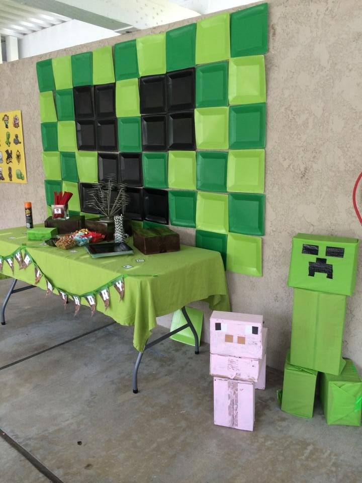 DIY Minecraft Party Ideas cake party favors and characters