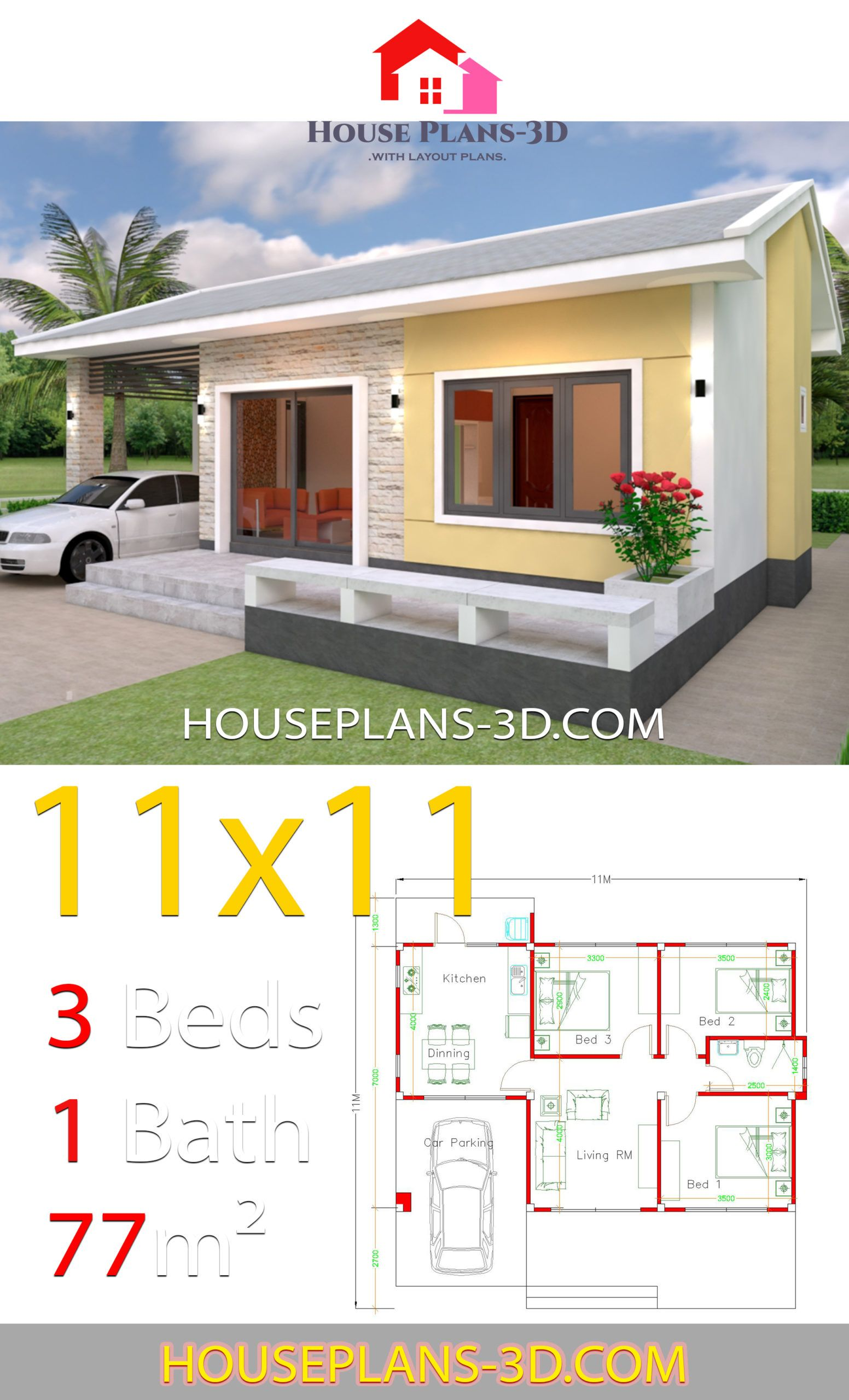 Simple House Design Plans 11x11 With 3 Bedrooms House Plans 3d In 2020 Simple House Design Simple House Home Design Plans