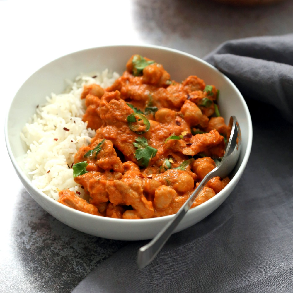 Instant Pot Vegan Butter Chicken With Soy Curls Chickpeas Oil Free Gf Vegan Richa Recipe In 2020 Vegan Butter Chicken Butter Chicken Vegan Butter