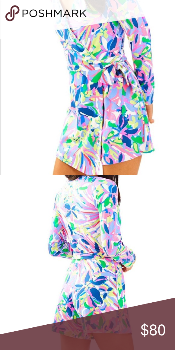 8133365371e43a Lilly pulitzer tiki wrap romper EUC Lilly pulitzer tiki wrap romper in  havin a blast print. Size XS Lilly Pulitzer Dresses Mini