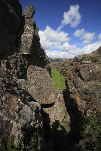 Split of North American and European tectonic plates. Iceland