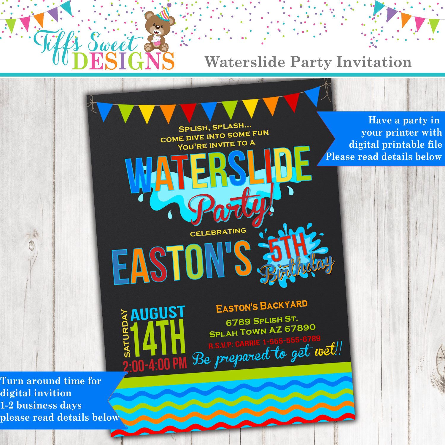 Waterslide Birthday Party Invitation