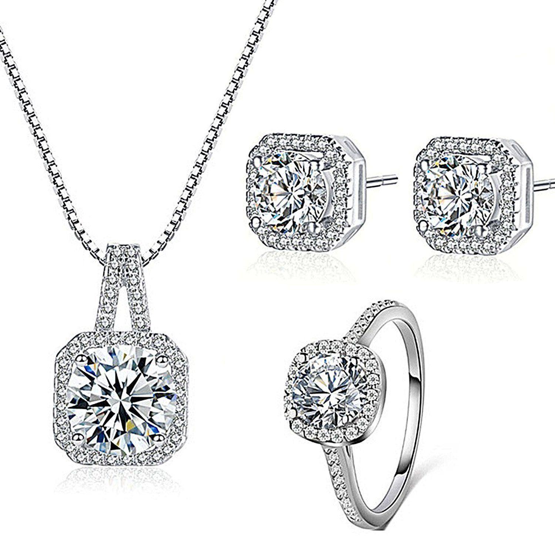 silver necklace pendant halo cushion cut ring bridal engagement