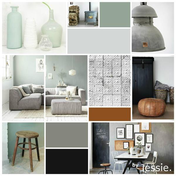 Moodboard | Woonkamer | Vergrijsd | Groen | Cognac | Stoer - Home ...