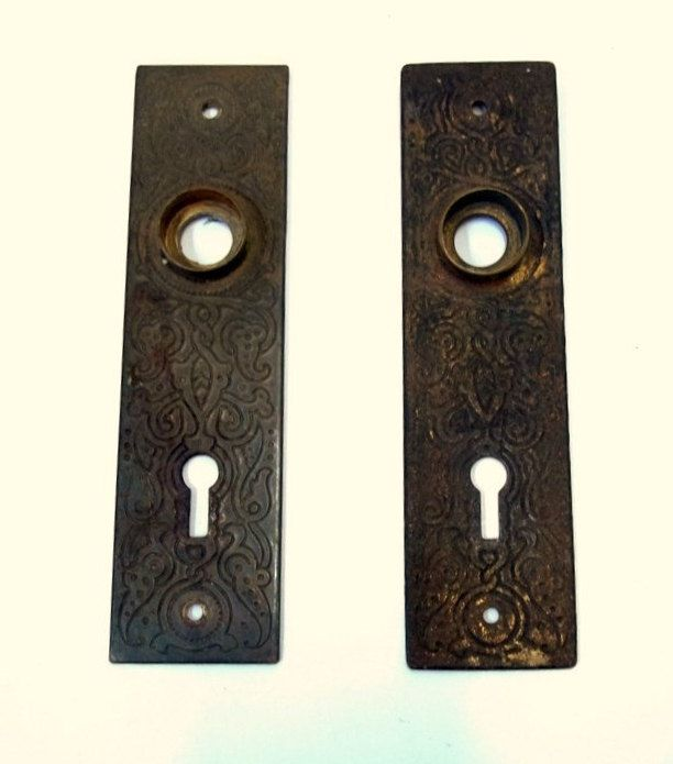 Ornate Cast Metal Door Backplate Set of Two Matching Antique Door Knob Back  Plates Architectural Salvage - Ornate Cast Metal Door Backplate Set Of Two Matching Antique Door