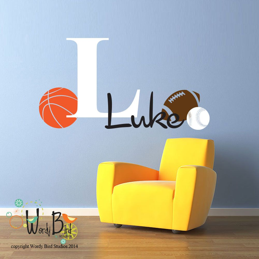 Monogram decal personalized boys nursery decor with sports theme
