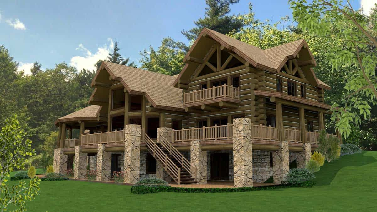 Luxury Log Home Design For Those Who Dream Big In 2020 Log Cabin Floor Plans Mountain House Plans Log Home Designs