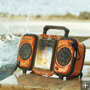 """Perfect for poolside, the Eco Terra Water-resistant iPod Speaker not only resists the occasional splash, it's fully submersible and designed to remain fully functional while floating on water.        Rugged industrial design protects your iPod® and other devices the damaging effects of water and harsh weather      Two full-range, 3"""" forward-firing waterproo"""