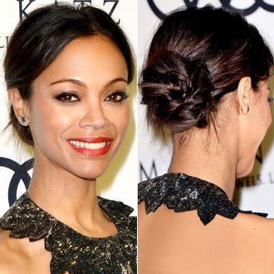 WHY WE LOVE IT: Zoe Saldana twisted her low bun into a spiral shape, while keeping the front sleek and polished.