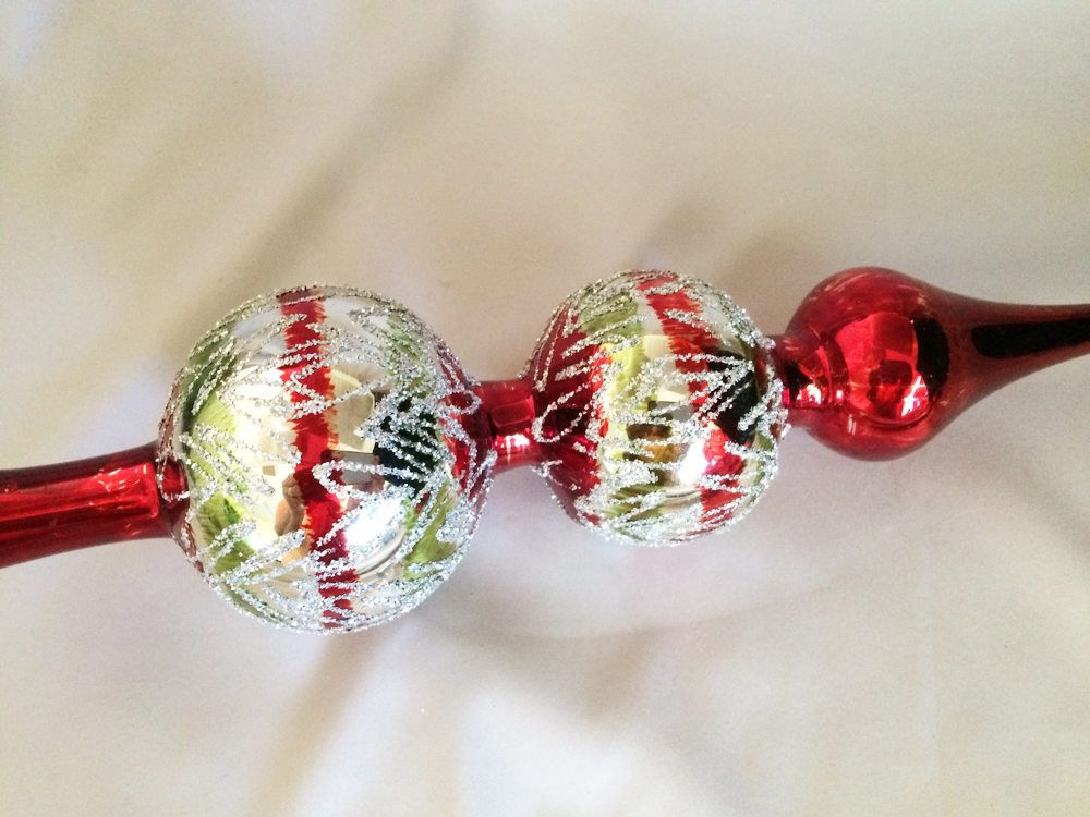 1960s iob large 12 vintage glass tree topper double ball christmas ornaments antique romania