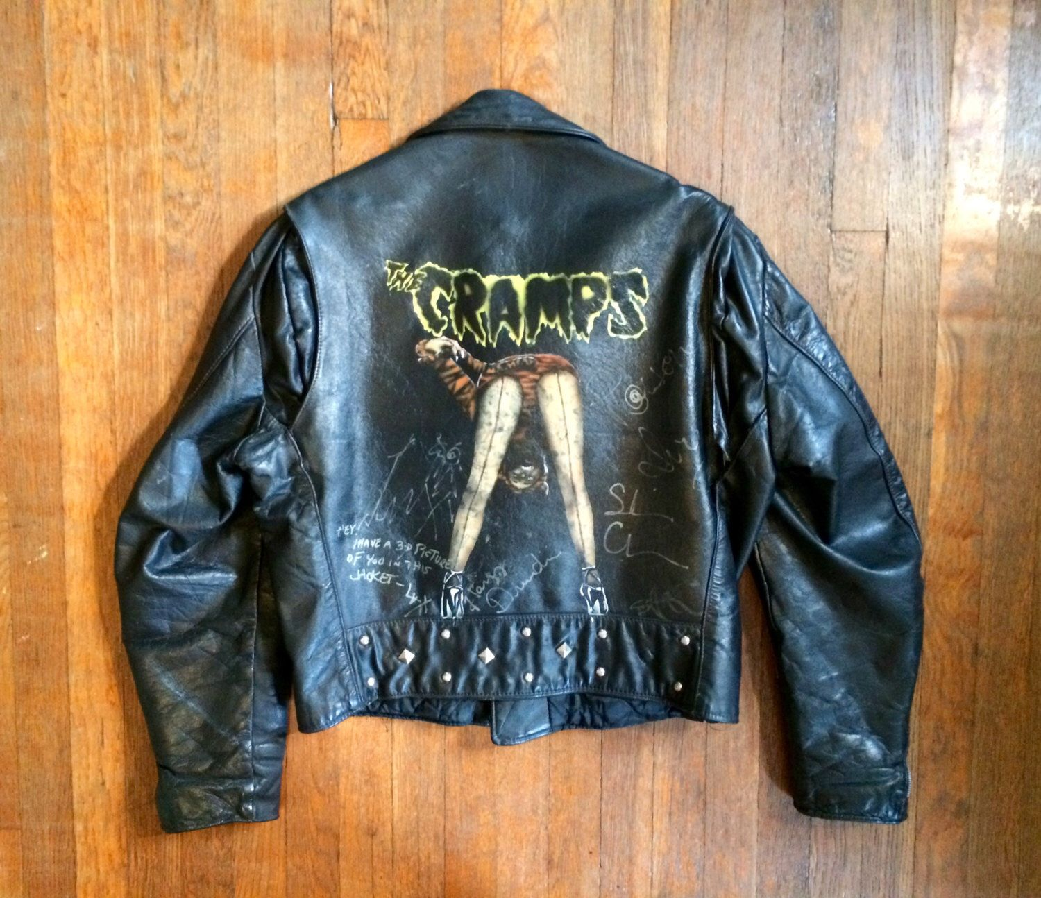 Vintage 1960s Excelled The Cramps Hand Painted Autographed Etsy Black Leather Motorcycle Jacket Vintage Tour T Shirts [ 1294 x 1500 Pixel ]