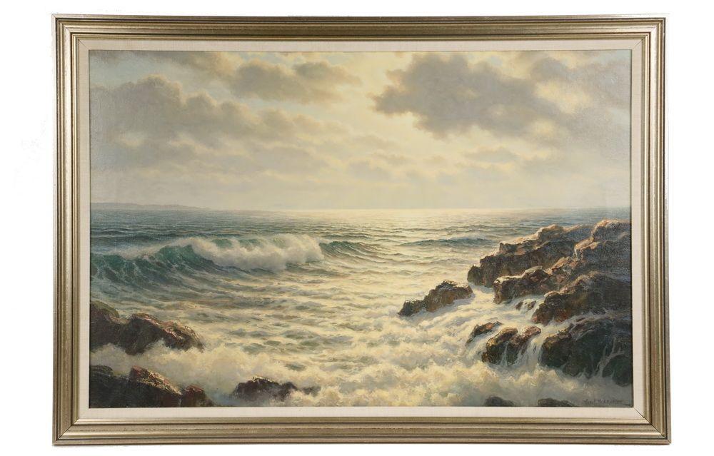 JOSEF ARENTZ (ME/MD, 1903-1969) Sunrise Surf, oil on canvas, signed ...
