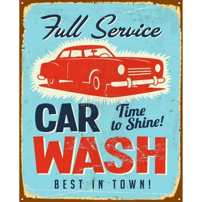 Affiche Vintage Pour Marquer Car Wash  AllPrintsCom  Car Wash