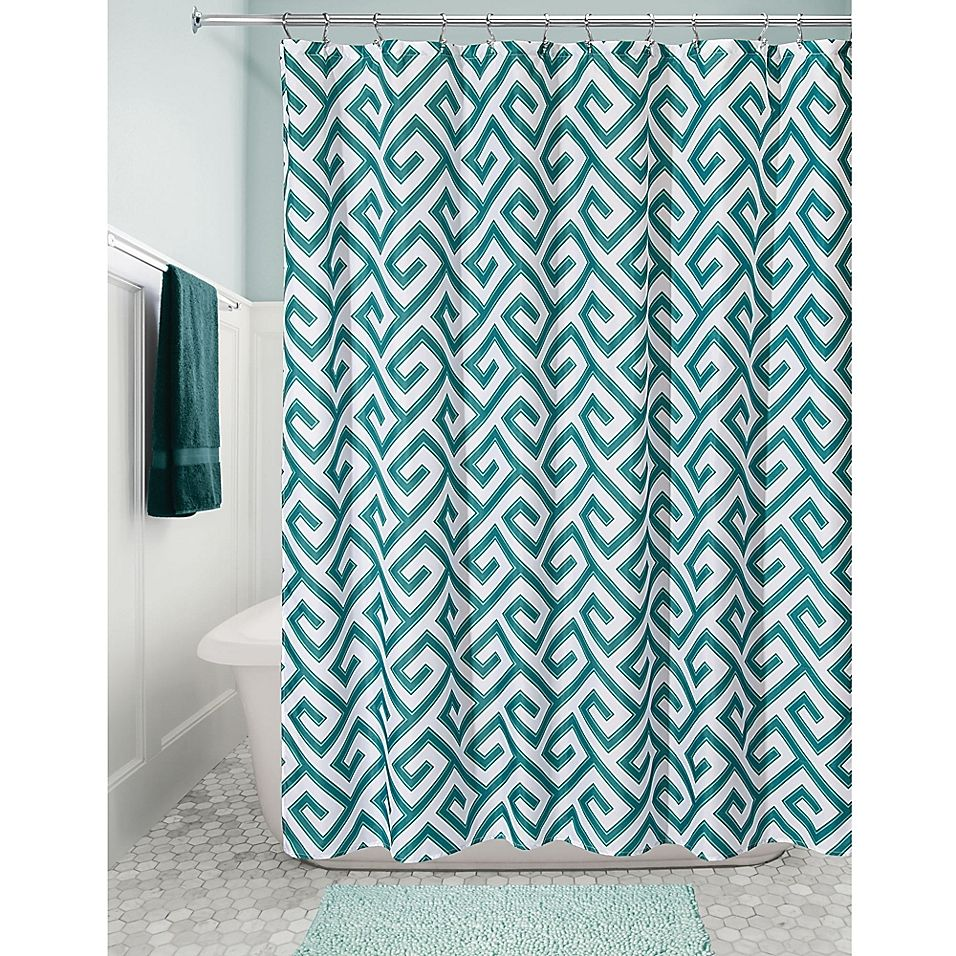 Interdesign Athena Fabric Shower Curtain In Teal Fabric Shower