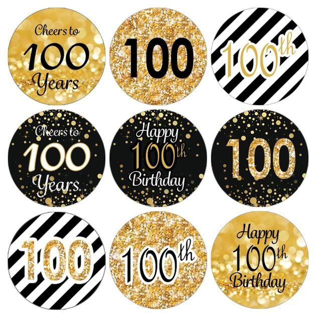 Black and Gold 100th Birthday Party Favor Stickers - 180 Count #50thbirthdaypartydecorations