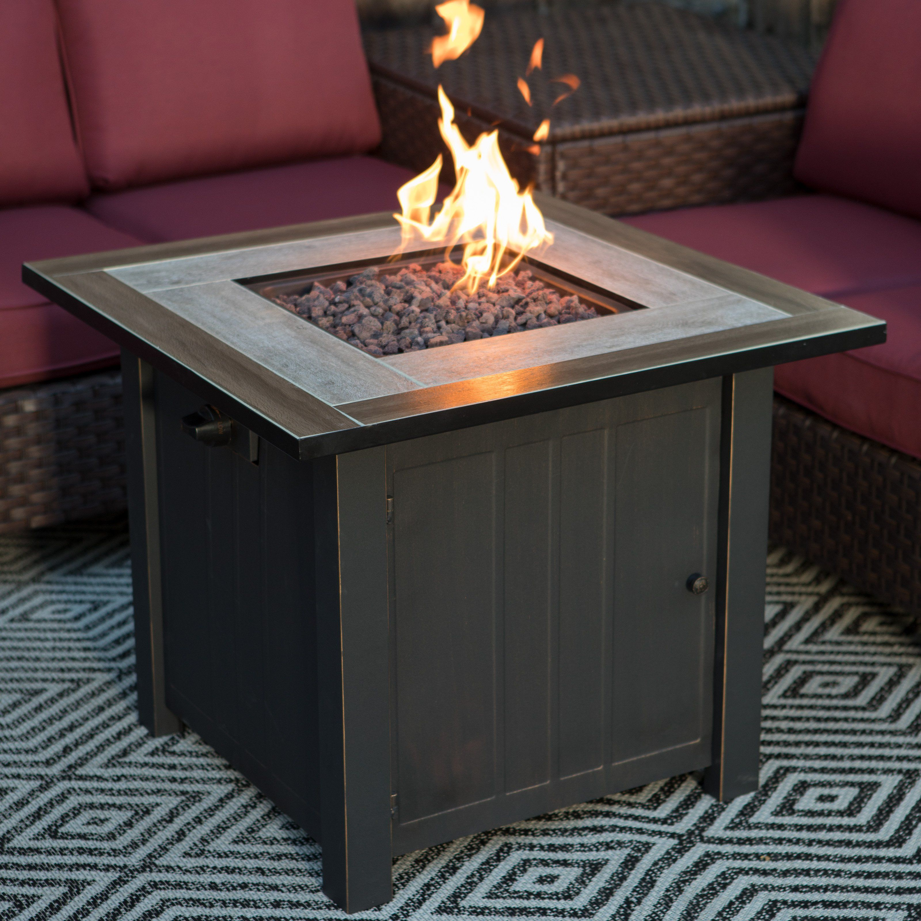 Red Ember Middleton Gas Fire Pit Table From Hayneedle Com Fire Pit Table Gas Fire Pit Table Fire Pit Backyard