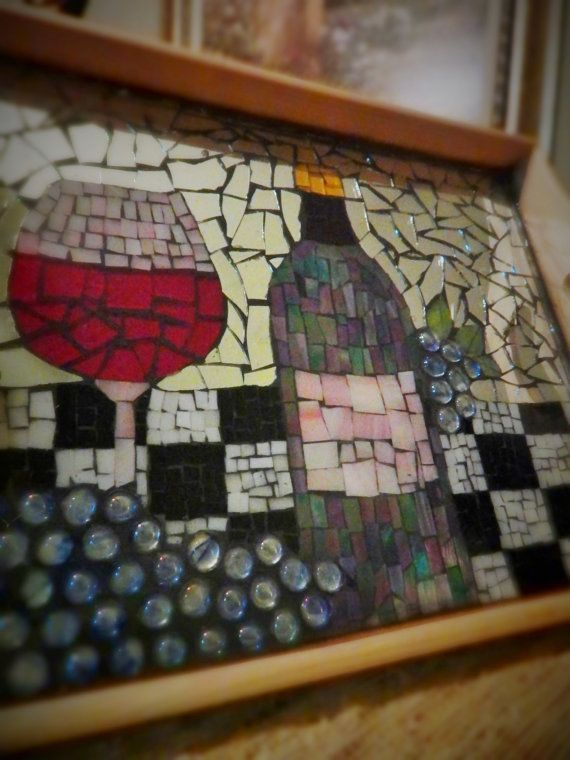 Mosaic Serving Tray With Wine And Grapes By