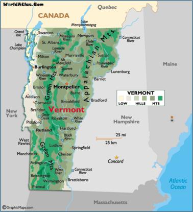 Map of Vermont VT | Vermont, Montpelier vermont, Map