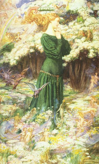 """Eleanor Fortescue-Brickdale (1872-1945), """"The Lover's World"""""""