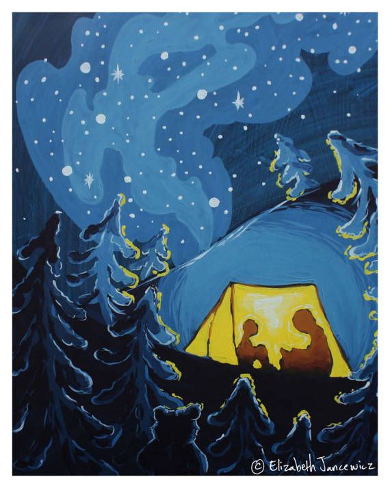 Camping In A Tent At Night Fine Art Print In 2020 Night Art