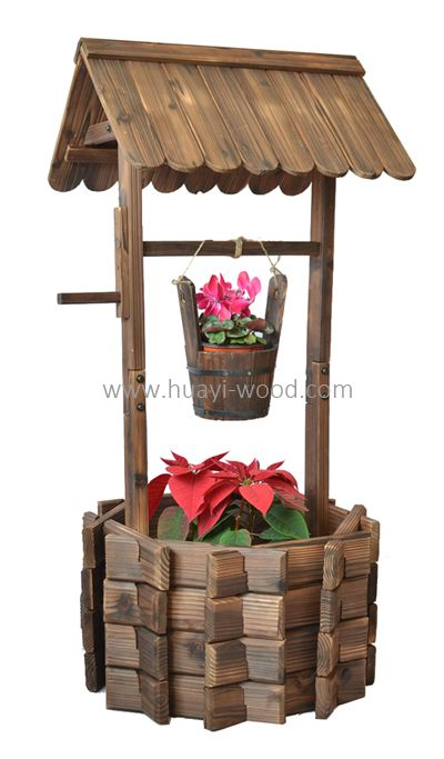 Old Fashioned Wishing Well Planter Comes With Small Barrel Planter