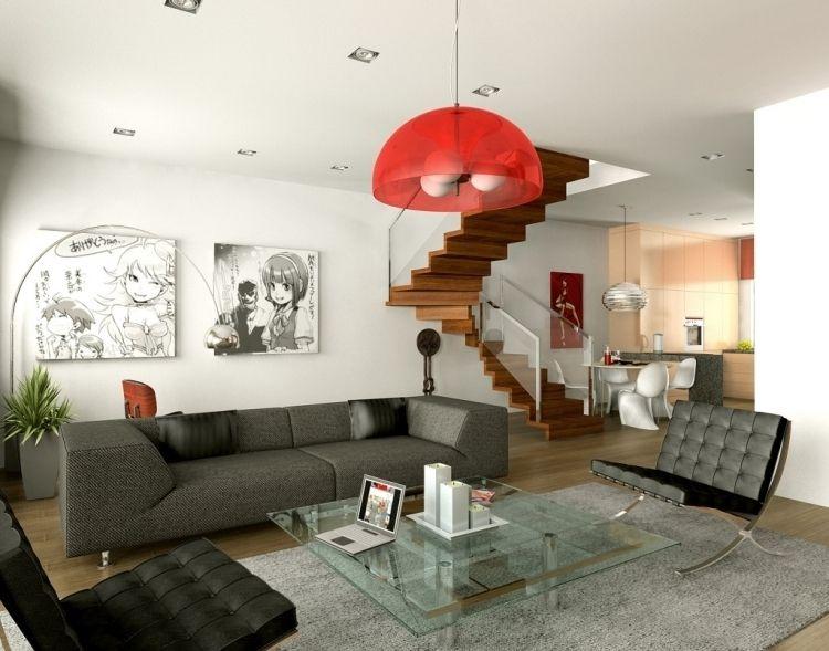 Fesselnd Nach Feng Shui Wohnzimmer Einrichten  Modern Naengeleuchte Rot Couch Treppe  Holzboden Offen Raum