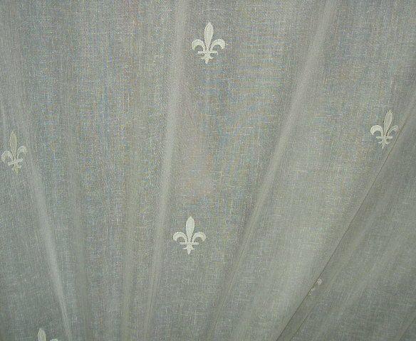 Fleur De Lis Fabric | Ivory Tone On Tone Embroidered Fleur De Lis Design