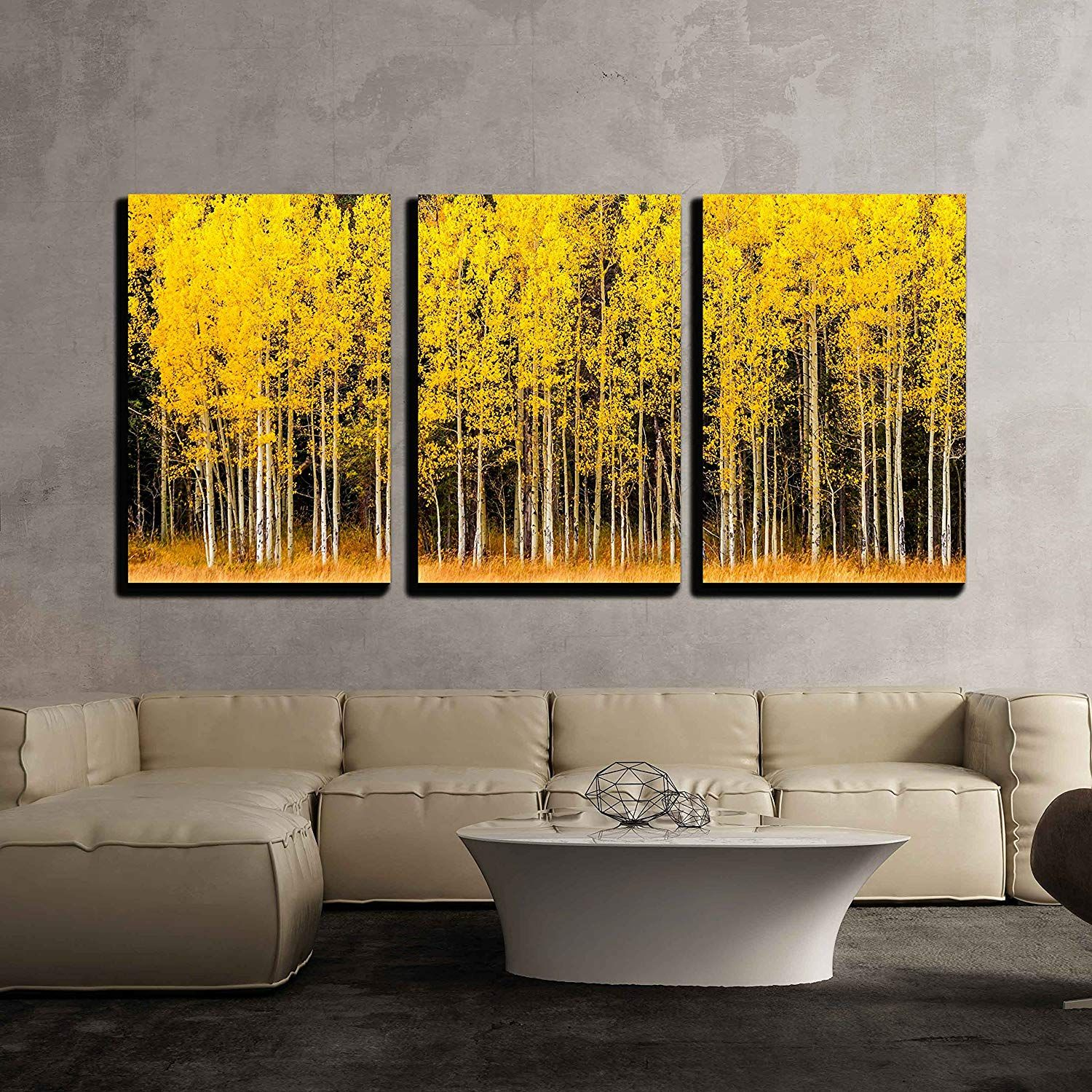 Wall26 3 Piece Canvas Wall Art Stand Of Changing Yellow Aspen Tree In Front Of Dark Green Pine Trees Modern Hom Home Wall Art Canvas Wall Art Love Wall Art