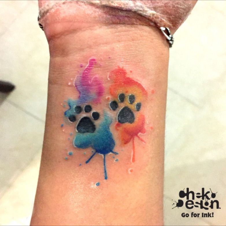 Watercolor Paw Print Tattoos Pawprint Tattoo Cat Print Tattoo
