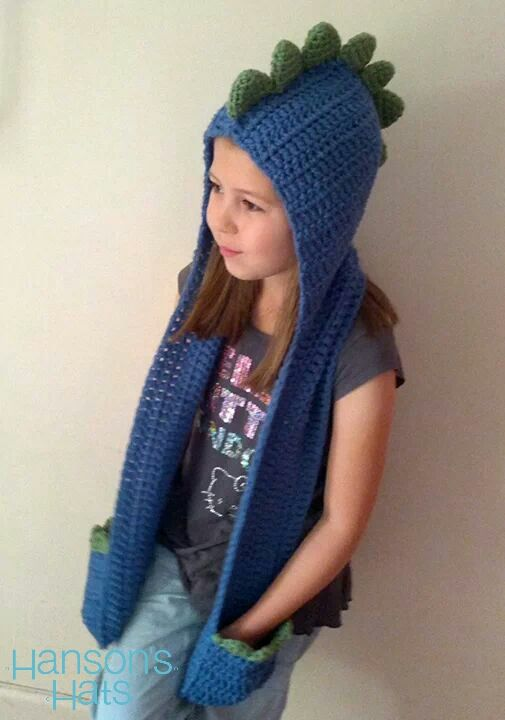 dcd7969cd Blue dinosaur hooded scarf | crochet | Crochet kids scarf, Crochet ...