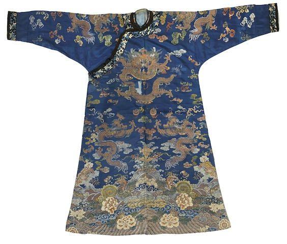 A dark blue ground silk brocade dragon robe, 18th-19th century