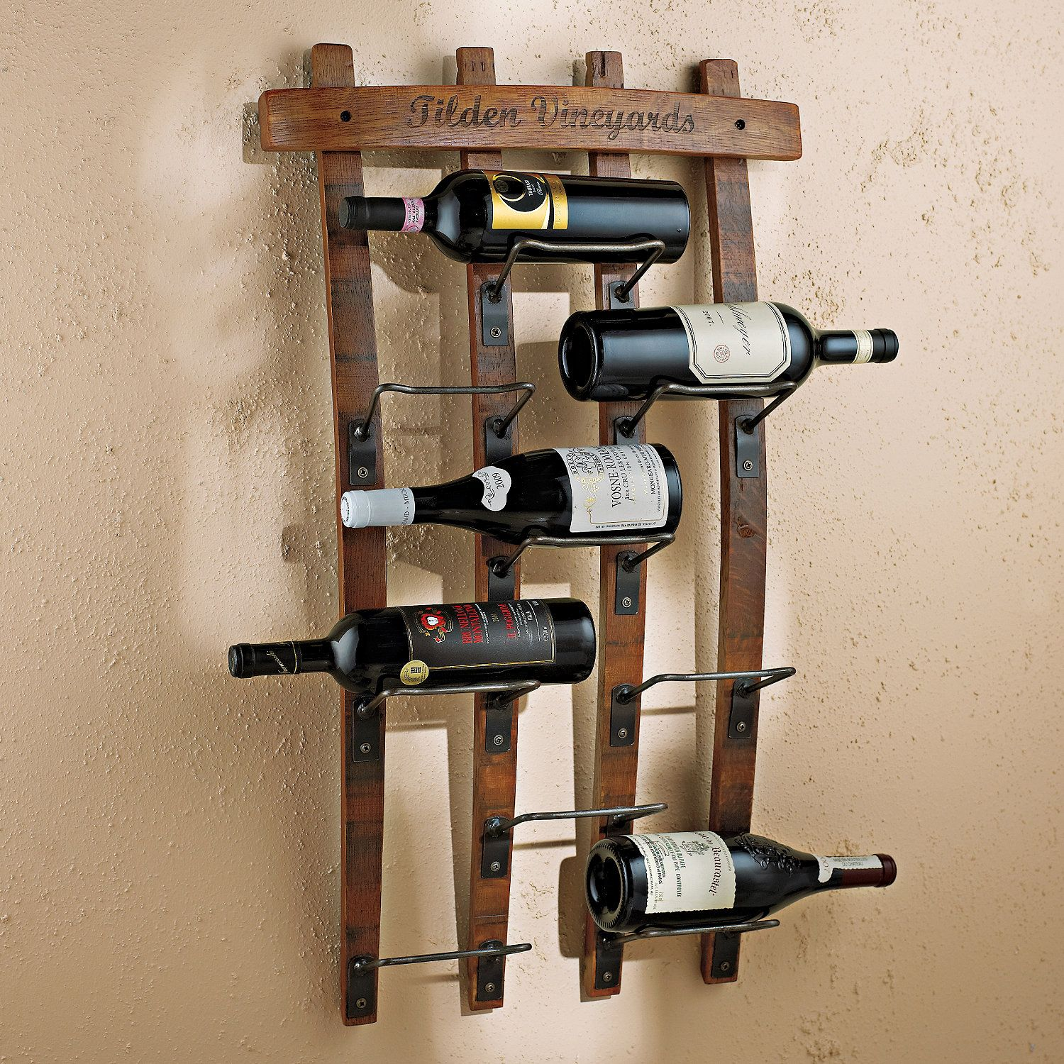 Personalized Barrel Stave Wall Rack Tahoe Cabin Wine