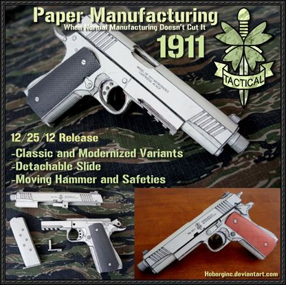 M1911 Pistol Free Paper Model Download | Weapons | Free