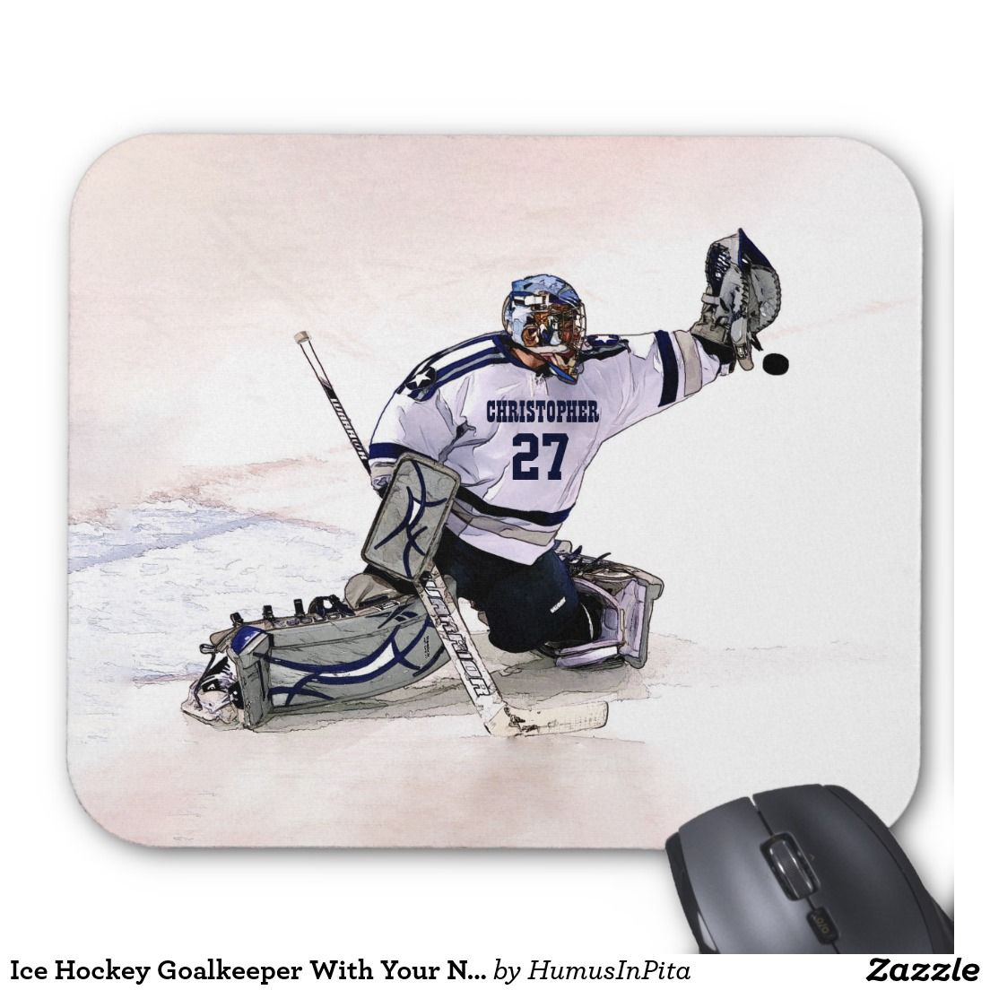 Ice Hockey Goalkeeper With Your Name Drawing Mouse Pad