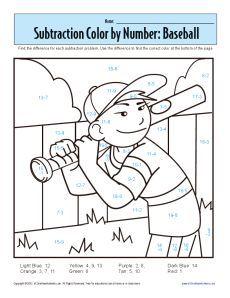 1st grade addition and subtraction worksheets subtraction color by number baseball. Black Bedroom Furniture Sets. Home Design Ideas