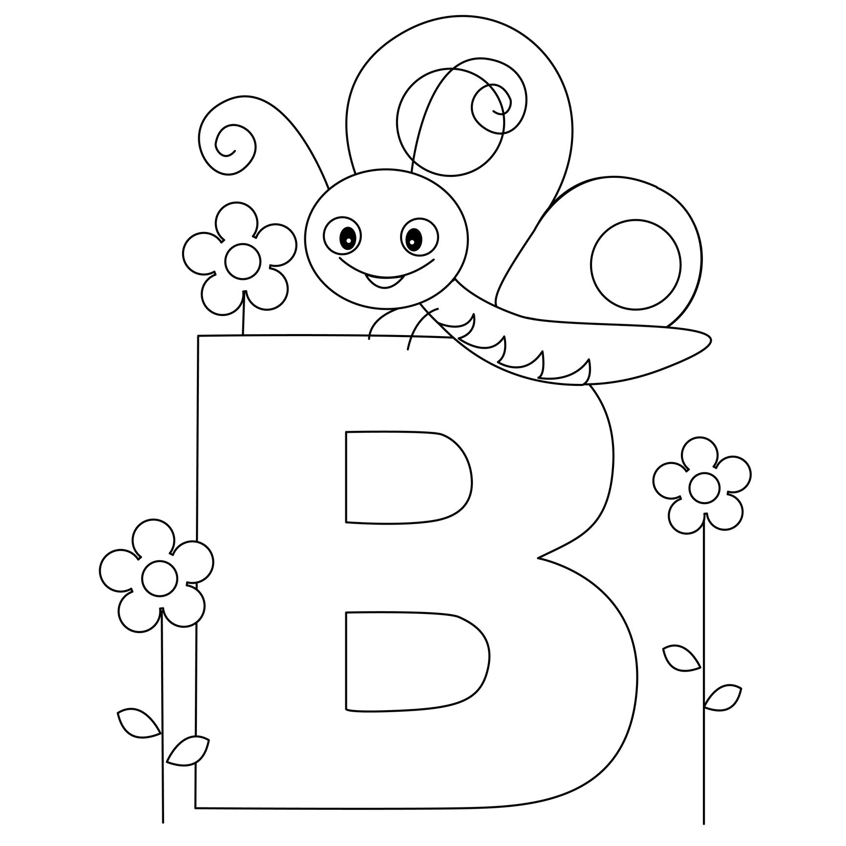 Animal Alphabet Letter B Is For Butterfly Coloring Letters Bug