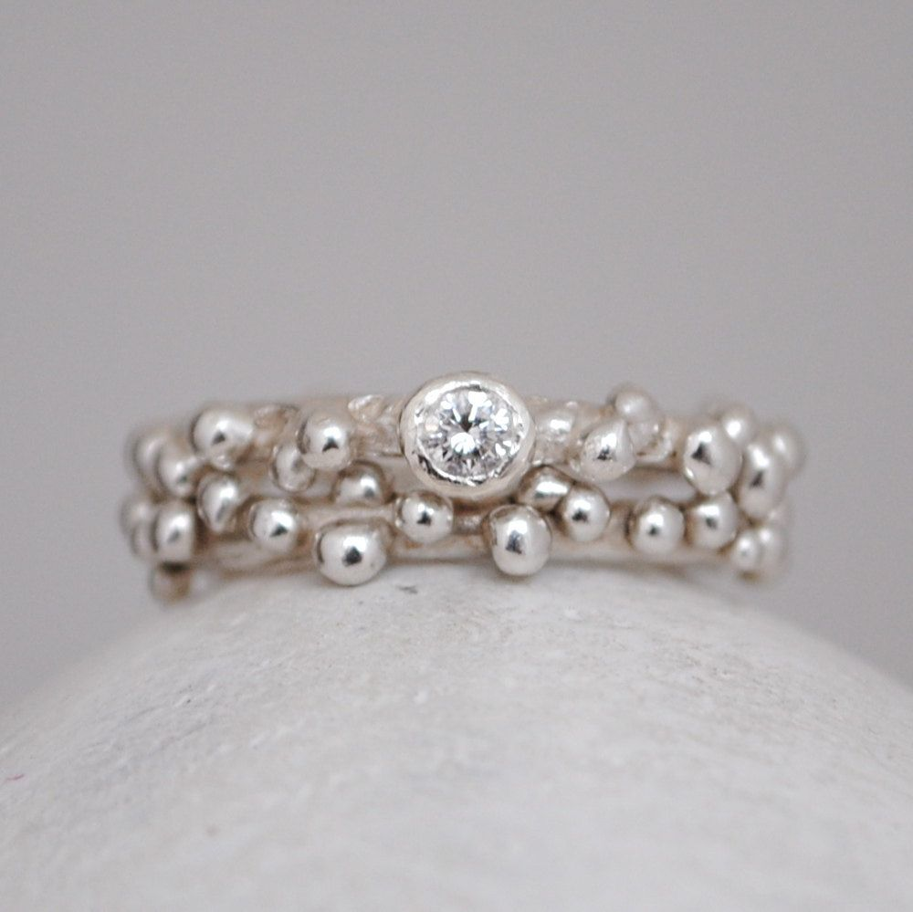 Handmade diamond engagement and wedding ring set by ChristinaEcco