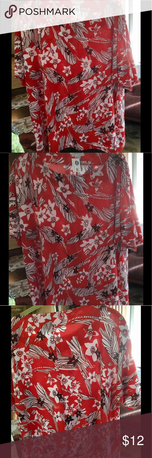 Fabulous in red Red floral shirt. Scoop neck with grommet on neckline and sleeves Erin London Tops Blouses