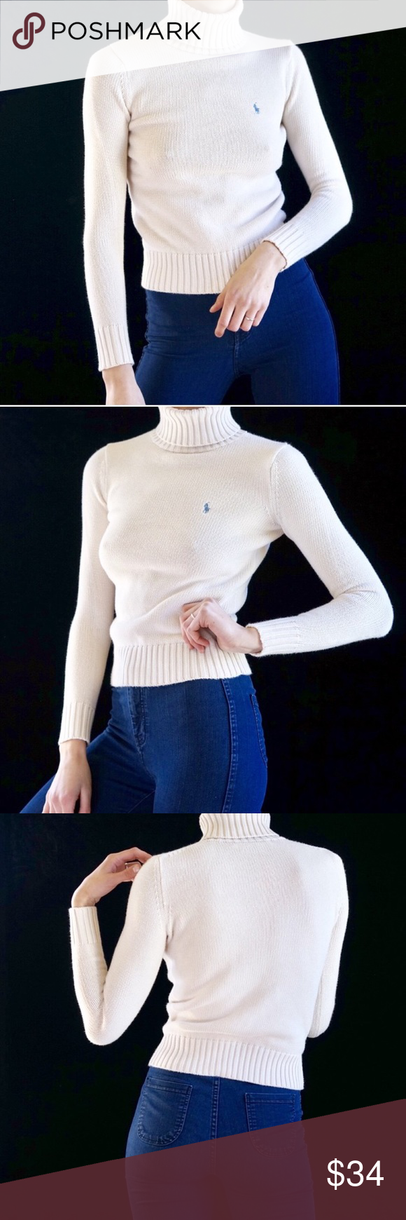 60c59a879a9 ... white turtleneck sweater Cream cotton thick knit turtleneck sweater  from Ralph Lauren. Light blue insignia on the chest. Best fits XS-S up to  size 2 due ...