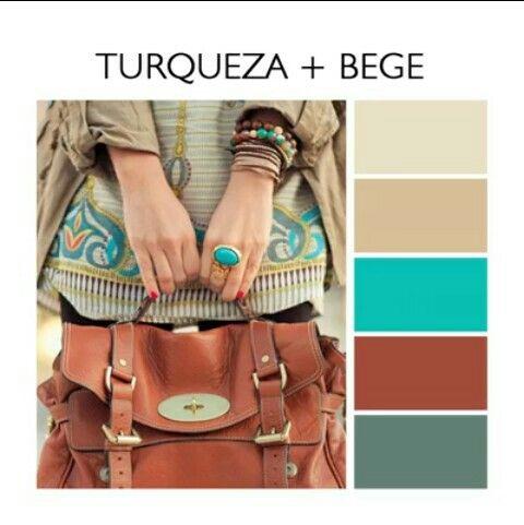 Turquesa e bege. paleta de cores tendência 2017