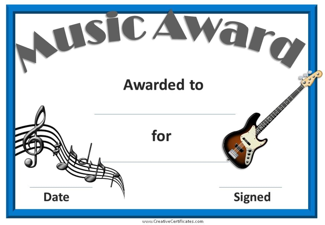 Certificate With A Picture Of A Guitar Certificates Pinterest