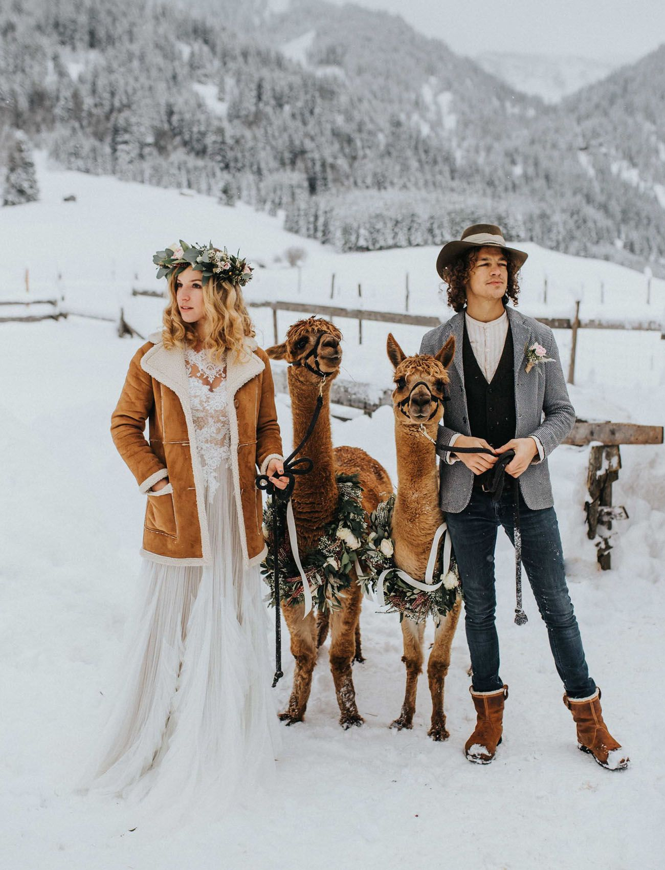 04fcbb9f0f26 Winter Boho Wedding Inspiration // Alpaca Austrian Alp Wedding in the snow