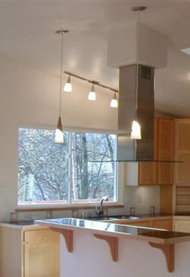 Mini Soffit Island Hood With Tall Ceiling Kitchen Soffit Curved Kitchen Ceiling Mount Range Hood
