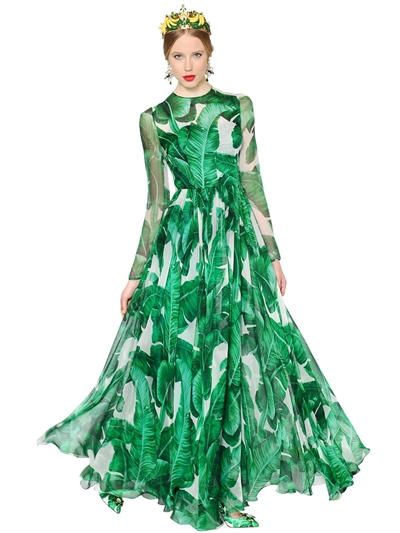 796b26e345 DOLCE & GABBANA Leaves Printed Silk Chiffon Gown, White/Green.  #dolcegabbana #cloth #long dresses