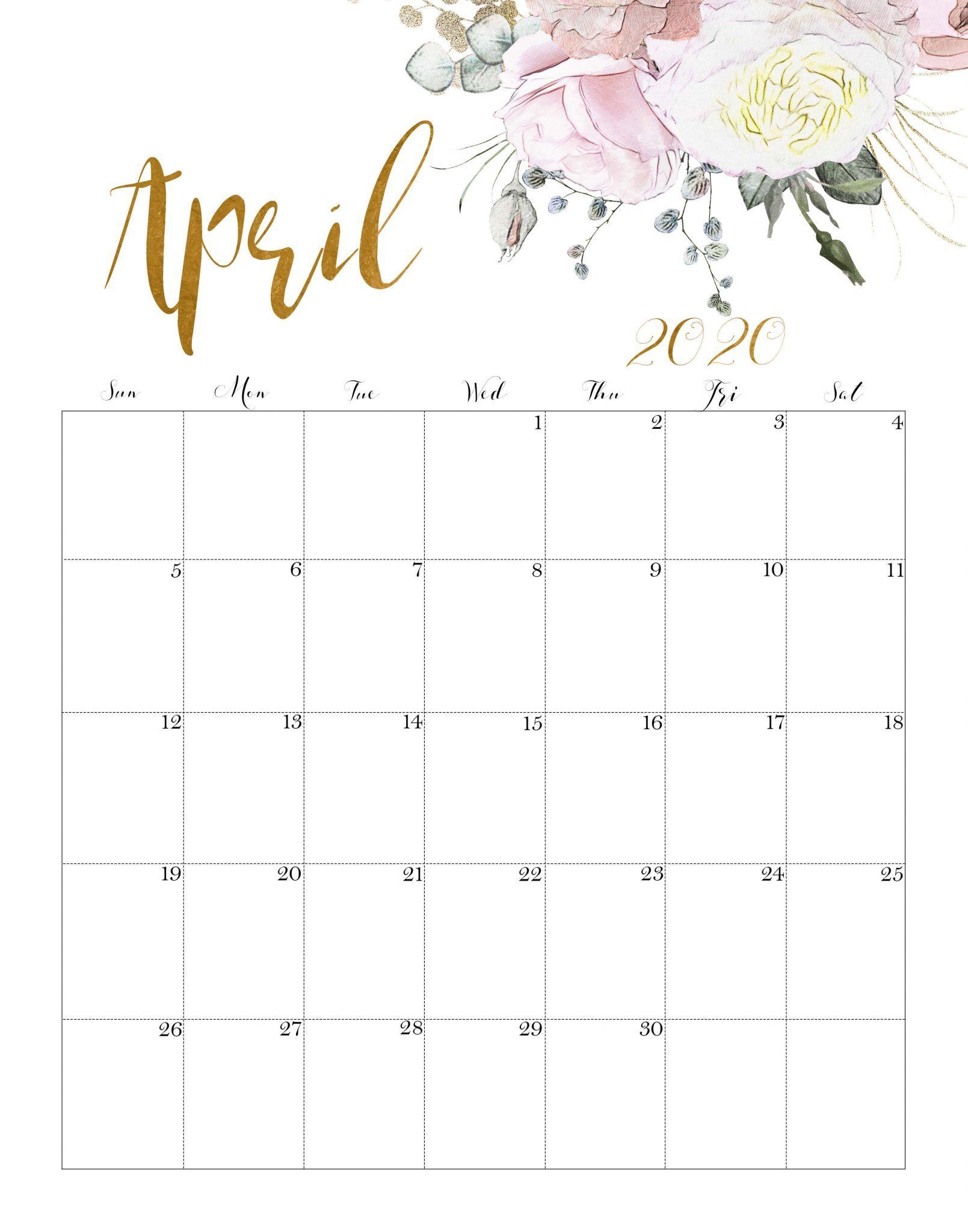 Cute April 2020 Calendar Printable Hd Wallpaper Floral Design In